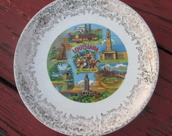 Louisiana State Plate - Vintage Souvenir Plate - Wall Art