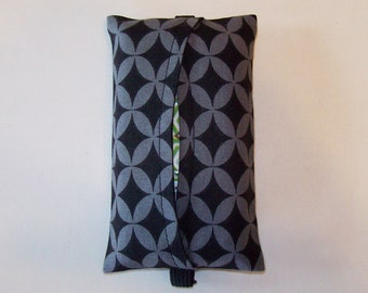 Auto Visor Tissue Cozy - Stylish Tissue Holder For Your Car - Gray And Black Tiles