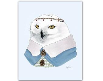 Snowy Owl art print 5x7