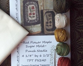 Punch Needle Kit Red Flower Maple Sugar Mold Pattern PN240 Valdani Threads Weavers Cloth