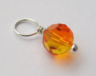 Fire Opal Round Swarovski Crystal 6mm Sterling Silver Dangle Charm, With or Without Sterling Silver Jump Ring