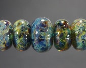 Lampwork Glass Boro Bead Set of 7 With Focal Bead Handmade Juba Glass Green Amber Blue Sparkle 48a