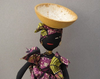 Handmade Cloth Doll in African Dress Ankara Wax Print Fabric Folk Art Doll Africa