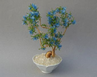 Vintage Beaded Wire Bonsai Tree in Lotus Bowl Blue Blossoms 10 Inch Bead Tree 1970s Home Decor