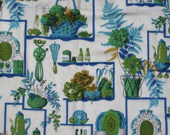 "1950s Vintage Kitchen Curtains Kitsch Fabric 2 Panels 43"" Wide x 37"" Long Green Blue White Kitchenware Print"