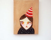 original small painting, canvas painting, mini painting, happy,people