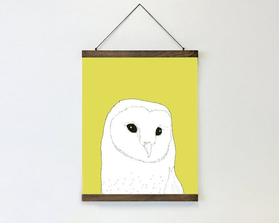 "wall hanging, poster, hanging poster, large art, large wall art, modern, owl art, owl, boho chic, canvas wall art, colorful - ""Barn Owl"""