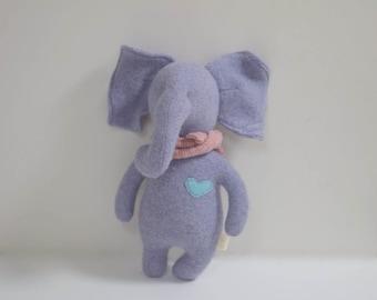 stuffed small Elephant OOAK purple elephant doll eco toy upcycled soft wool sweater Baby shower gift plush toy elephant bubynoa Elifants