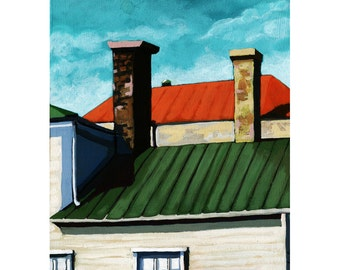 Urban House Rooftops city landscape original oil painting OOAK