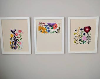 3 piece Embroidered floral scene. Flower embroidery.