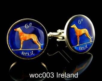 Ireland coin cufflinks Irish wolfhound  sixpence 21mm