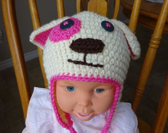 Crochet Pink trim on offwhite Earflap dog hat, girls, accessory, 2-4 year old size