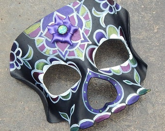 Black Sugar Skull Leather Mask - Day of the Dead Costume with Shimmering Purple Flowers
