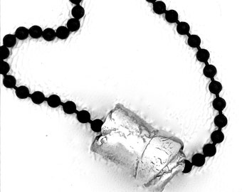 Simple Pendant Recycled Fine Silver Tube Bead Contemporary minimalist jewelry Elegant Primitive wrap bead unique rustic ENFOLD NECKLACE