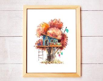 Treehouse Series 5 Watercolor Art Print - Digital Download