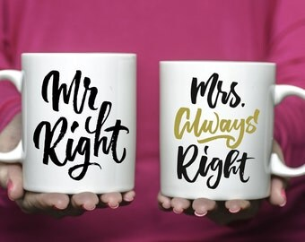 Set of Mr Right Mrs Always Right Coffee Mugs | Ceramic Coffee Mugs | Gift for Wedding Couple | Mug Gift Set | Sublimation Mug | Mug Set