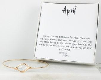April Birthstone Gold Bangle, April Birthstone Gold Bracelet, Clear Bangle Bracelet, April Birthstone Bracelet, Bridesmaid Jewelry