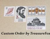 Reserved Custom Order for Ashley. Unused Vintage US Postage Stamps for mailing Wedding Invitations.
