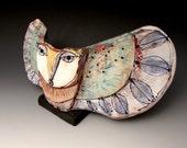 "Clay Owl sculpture / Owl Figurine, whimsical owl art, ceramic owl art, ""Owl Person Taking Flight into Beauty. Freedom"""