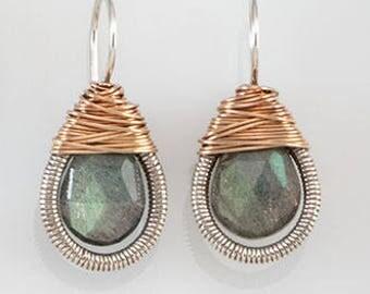Two Toned Teardrop Wrapped Earrings - medium