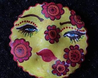 clay face OOAK Handmade  woman mask flower face Pendant  jewelry craft supplies  handmade   face polymer