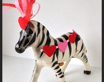 Valentine's Day Decoration Vintage Zebra Figurine  Valentine Ornament  Valentine gift TVAT