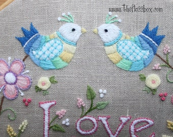 Love Crewel Embroidery Pattern and Kit