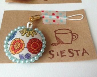 LIBERTY and pearl beads strap / charm
