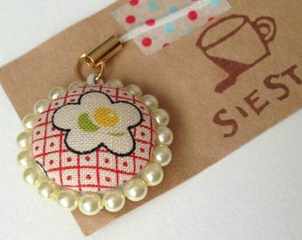American cotton and pearl beads strap / charm