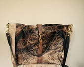 For Rawna//JOSEPHINE Shopper In Thick Oil Tanned Brown Leather with Brindle Hair on Hide
