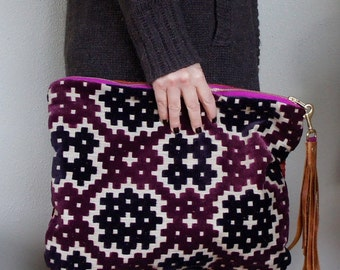 NEW XL Oxford Single/// Purple Velvet Cut Upholstery and Red Cut Velvet ///Fold Over Clutch/// Pouch