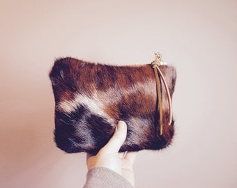 NEW/////Mixed Leather and Hair on Hide Pouch//Reversible