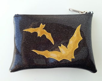 Coin purse black metalflake vinyl with gold bats