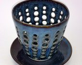 Blue Pottery Orchid Flower Pot with Air Vents and a Drip Saucer  - Make Your Orchid Happy!