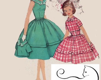 1950s Rockabilly Girls Dress and Jacket Simplicity 1706 Vintage 50s Sewing pattern Size 8