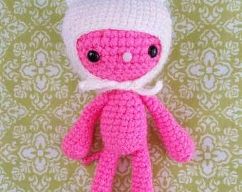 Amigurumi Little Pink Cat with White hat with Long Ears