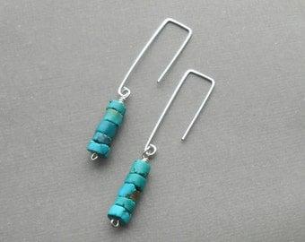 Turquoise Earrings, Long Silver Earrings, Minimal Sterling Silver Dangle Earrings, Modern Boho Jewelry