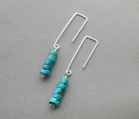 Turquoise Earrings, Long Silver Minimalist Earrings, Sterling Silver Dangle Earrings, Modern Boho Jewelry
