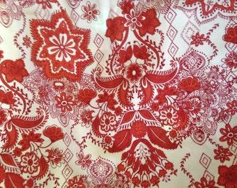 Cotton Duck Fabric Red art Nouveau print