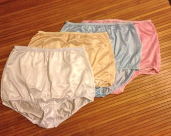 Grandma Panties FOUR Vintage Nylon Panties Underwear Size XXL NWOT