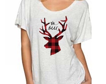 Oh deer shirt, plaid shirt, womans shirt, oh deer-CLEARANCE