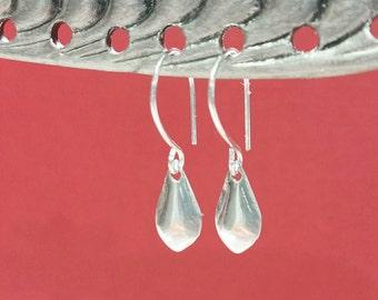 TINY Sterling Silver Cross Earrings - Minimalist Drop Earrings, Simple, Everyday Wear, Small Dangles, Silver Jewelry