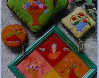 Appliqué Embroidery Pattern - Baskets Full by Reets' Rags to Stitches - Wool Felt Appliqué Pattern