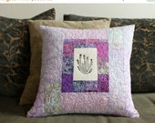 ON SALE SALE - Purple Patchwork Quilted Pillow Handprinted Lavender block Modern Home Decor 15x15 Toss Pillow Fiber Art Quilted Pillow