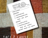 "Care Instruction Printable PDF Cards for Knitters - ""Hand Knit with Love"" Labels or Tags for Handmade Knitted Crafts - Great for Craft Shows"