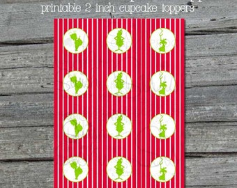 Christmas Cupcake Toppers | Digital Download | Printable 2 inch circles | Christmas Holiday | Grinch | Instant Download