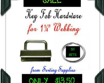 "50 Sets - 1 1/4"" - KEY FOB HARDWARE, 1.25 inch, Nickel Rectangular Top, 100 pieces"