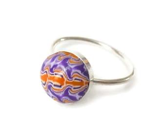 Dragon Ring, Dragon Ring Silver, Polymer Clay Ring, Size 7 Ring Silver, Dainty Silver Ring, Dainty Purple Ring, Lizard Tail Ring