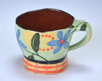 Espresso cup, blue flowers.