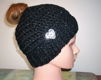 Bun Beanie - Pony Tail Hat - Messy Bun Hat - Womens Beanie - Messy Hair Hat - Black Silver Chunky yarn - No Seam - FREE bag - Ready To Ship